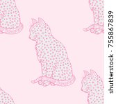 cat. seamless pattern.... | Shutterstock . vector #755867839