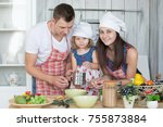young family  mother father and ... | Shutterstock . vector #755873884