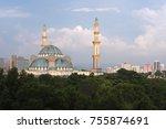 view of public mosque  wilayah...   Shutterstock . vector #755874691
