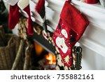 christmas stockings hanging on... | Shutterstock . vector #755882161
