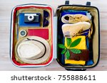 full packed suitcase | Shutterstock . vector #755888611