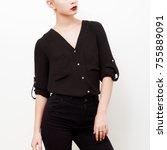 hipster model. swag. minimal... | Shutterstock . vector #755889091