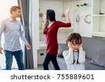 crying girl with his fighting... | Shutterstock . vector #755889601