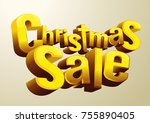 christmas sale font golden... | Shutterstock . vector #755890405