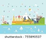colombia famous landmarks... | Shutterstock .eps vector #755890537