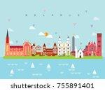 belarus famous landmarks... | Shutterstock .eps vector #755891401