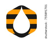 water drop vector logo. hexagon ... | Shutterstock .eps vector #755891701