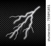 realistic lightning. bright... | Shutterstock .eps vector #755891851
