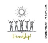 friendship  vector concept hand ... | Shutterstock .eps vector #755893825