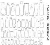 vector set of cosmetics bottles ... | Shutterstock .eps vector #755894917