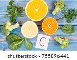 fresh fruits and vegetables as... | Shutterstock . vector #755896441
