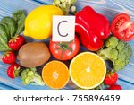 fresh fruits and vegetables as... | Shutterstock . vector #755896459