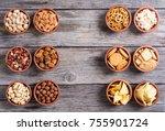 mix of snacks pretzels crackers ... | Shutterstock . vector #755901724
