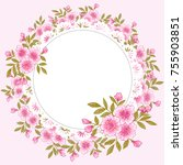 delicate floral frame with... | Shutterstock .eps vector #755903851