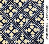 blue and white tile | Shutterstock . vector #755908084