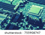 electric circuit and cpu. | Shutterstock . vector #755908747