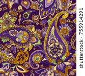 seamless pattern based on... | Shutterstock .eps vector #755914291