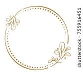 vector floral vintage frame on... | Shutterstock .eps vector #755916451