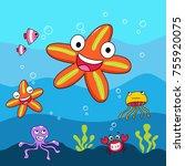 red starfish. underwater life...   Shutterstock .eps vector #755920075