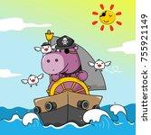 little pirates in the ocean....   Shutterstock .eps vector #755921149