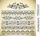set seamless borders | Shutterstock .eps vector #75592147