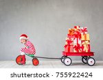 happy child with christmas gift.... | Shutterstock . vector #755922424