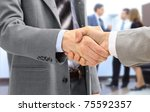 handshake isolated on business... | Shutterstock . vector #75592357