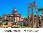 ruins of ancient civilization.... | Shutterstock . vector #755923669