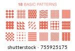 18 basic patterns | Shutterstock .eps vector #755925175