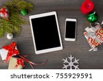 tablet smart phone mobile... | Shutterstock . vector #755929591