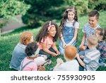 happy children playing in the... | Shutterstock . vector #755930905
