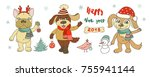 three cute dogs  snowman and... | Shutterstock . vector #755941144