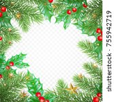 christmas holiday greeting card ... | Shutterstock .eps vector #755942719