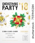 christmas party invitation... | Shutterstock .eps vector #755945284