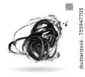 grey brush stroke and texture.... | Shutterstock .eps vector #755947705
