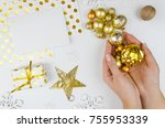 christmas banner mockup flatlay.... | Shutterstock . vector #755953339