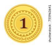 gold medal champion. golden 1st ... | Shutterstock .eps vector #755963641