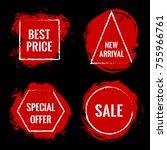 red marketing banners for black ...   Shutterstock .eps vector #755966761