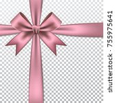 pink gift bow and ribbon. | Shutterstock .eps vector #755975641