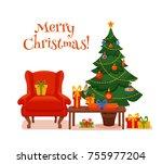 christmas room interior in... | Shutterstock .eps vector #755977204