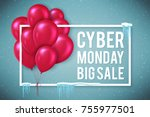 poster template for cyber... | Shutterstock .eps vector #755977501