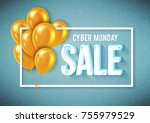 poster template for cyber... | Shutterstock .eps vector #755979529