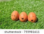 funny eggs on grass | Shutterstock . vector #755981611