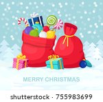 Santa Claus Red Bag  Sack With...