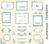 hand drawn frames  labels ... | Shutterstock .eps vector #755983999