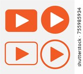 play button icon in trendy flat ... | Shutterstock .eps vector #755985934
