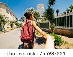 follow me.woman holds... | Shutterstock . vector #755987221