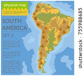 south america physical map... | Shutterstock .eps vector #755988685