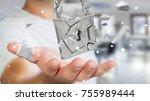 businessman on blurred... | Shutterstock . vector #755989444