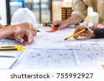 image of team engineer checks... | Shutterstock . vector #755992927